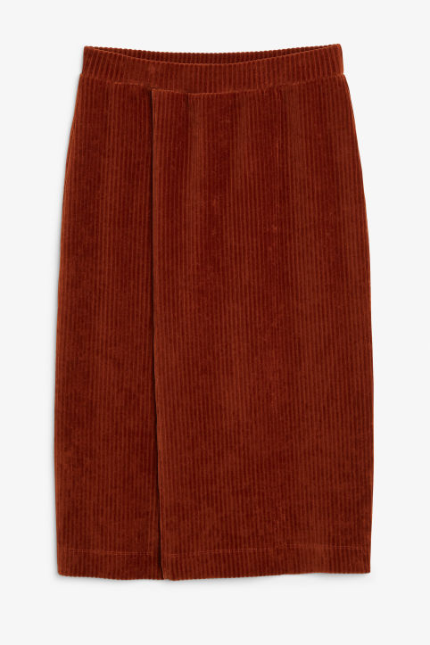 Front image of Monki soft ribbed velour skirt in orange