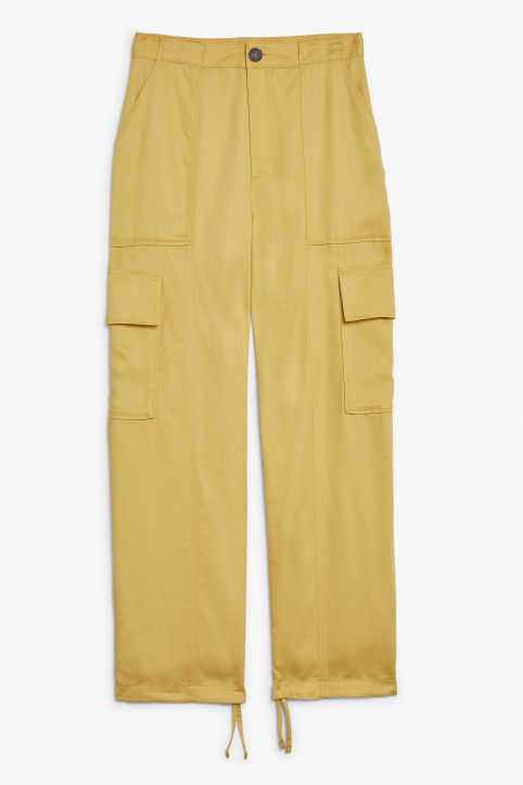 Front image of Monki utility trousers  in yellow