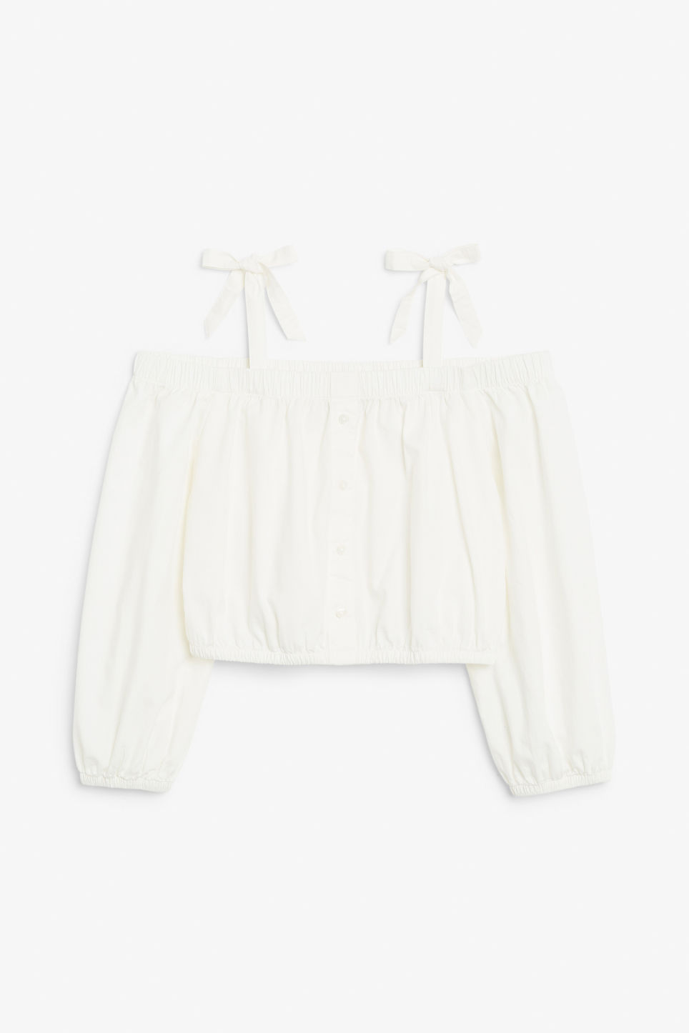 Front image of Monki bardot top in white