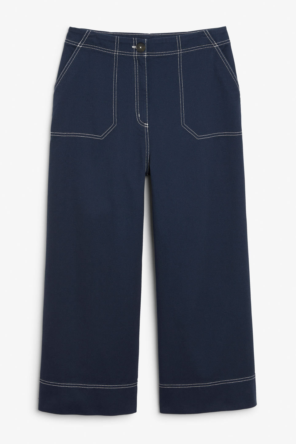 Front image of Monki contrast stitch utility trousers in blue