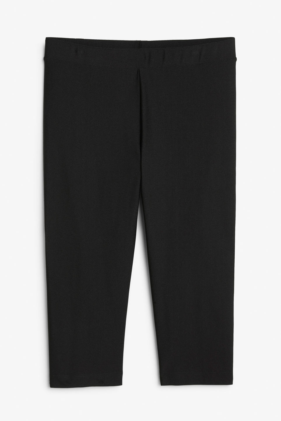 Front image of Monki cropped shiny leggings in black