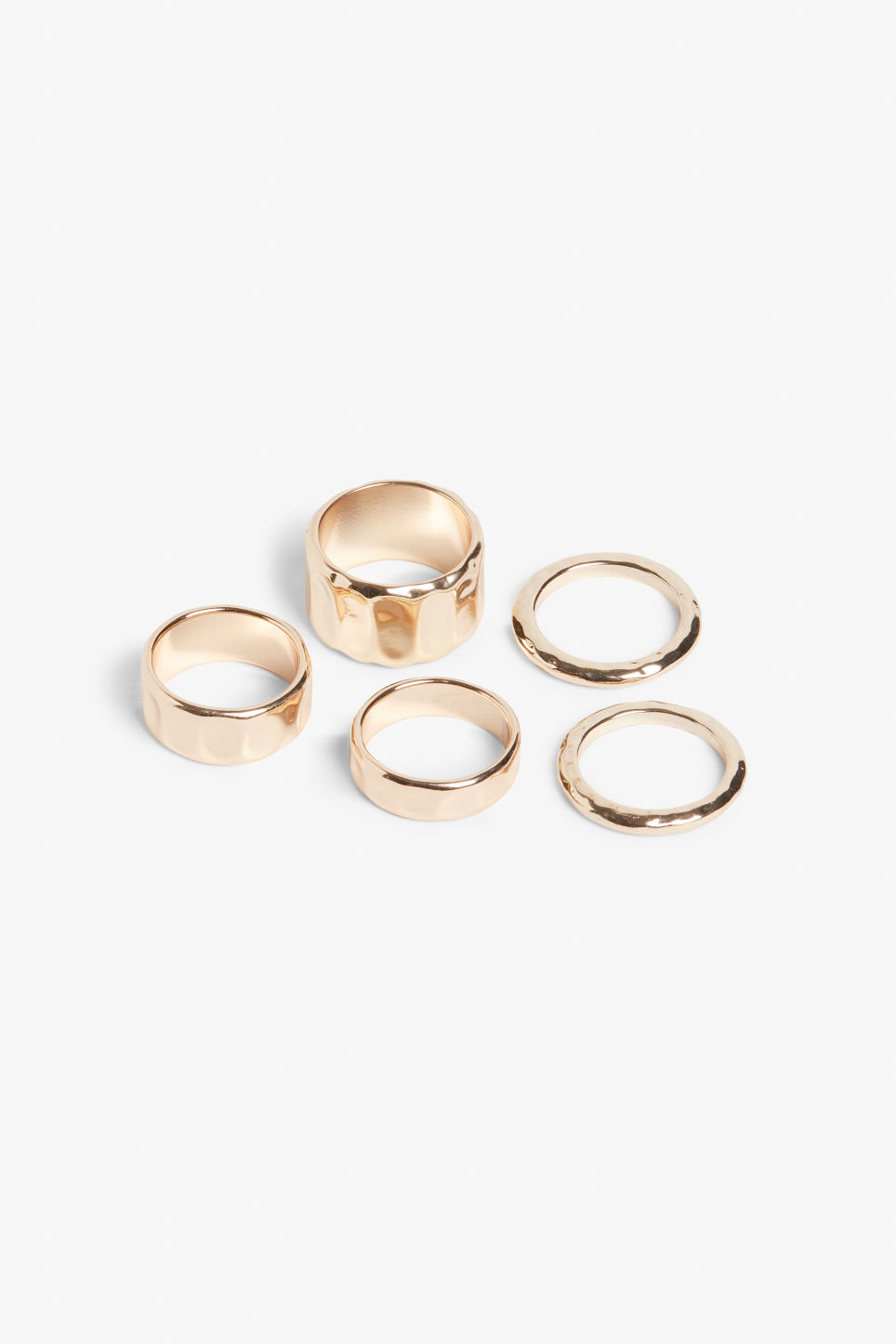 Front image of Monki multiple gold rings  in gold