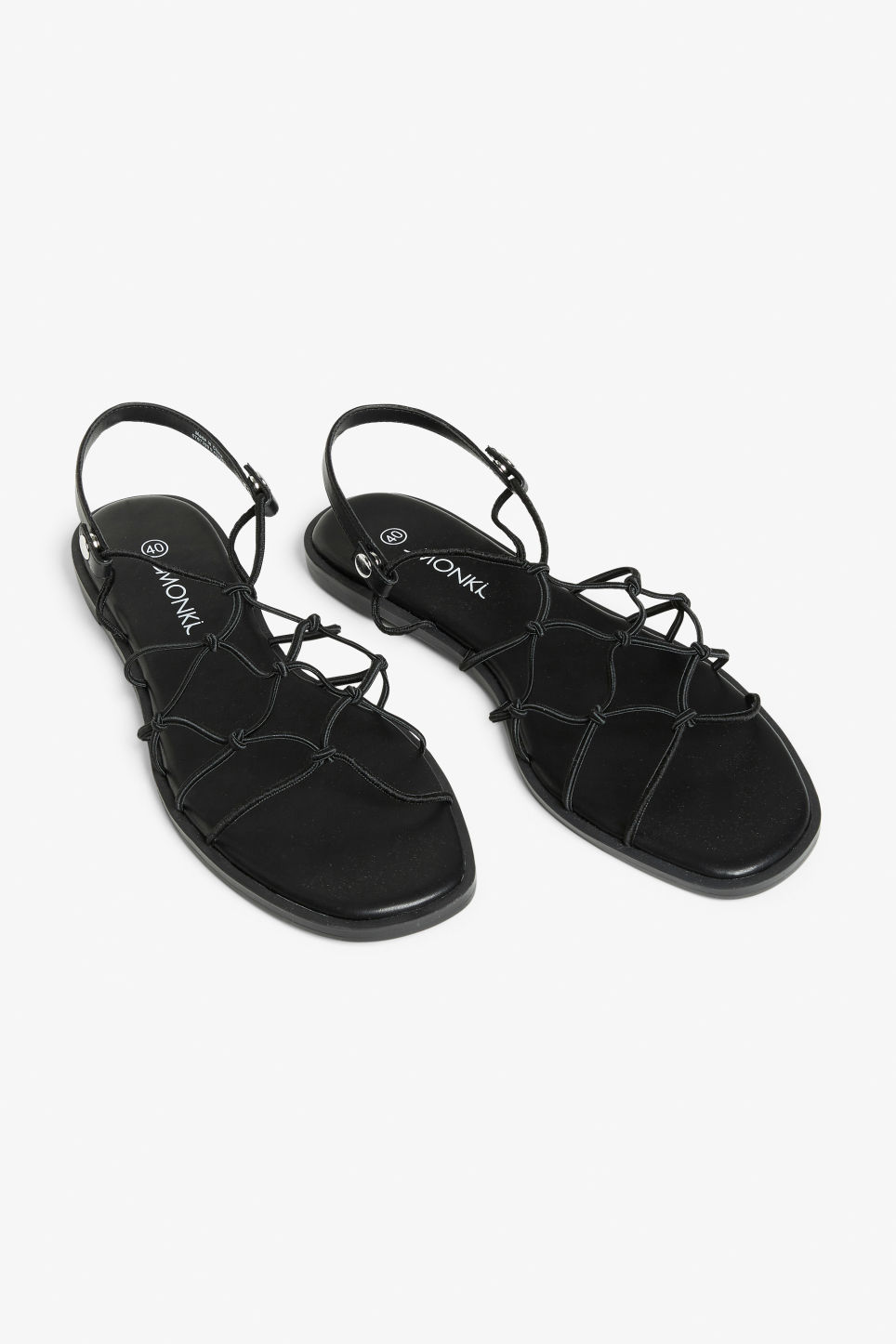 8b9cf0c15c1 Front image of Monki in black. Detailed image of Monki in black. More  photos. More photos. Knotted flat sandals ...