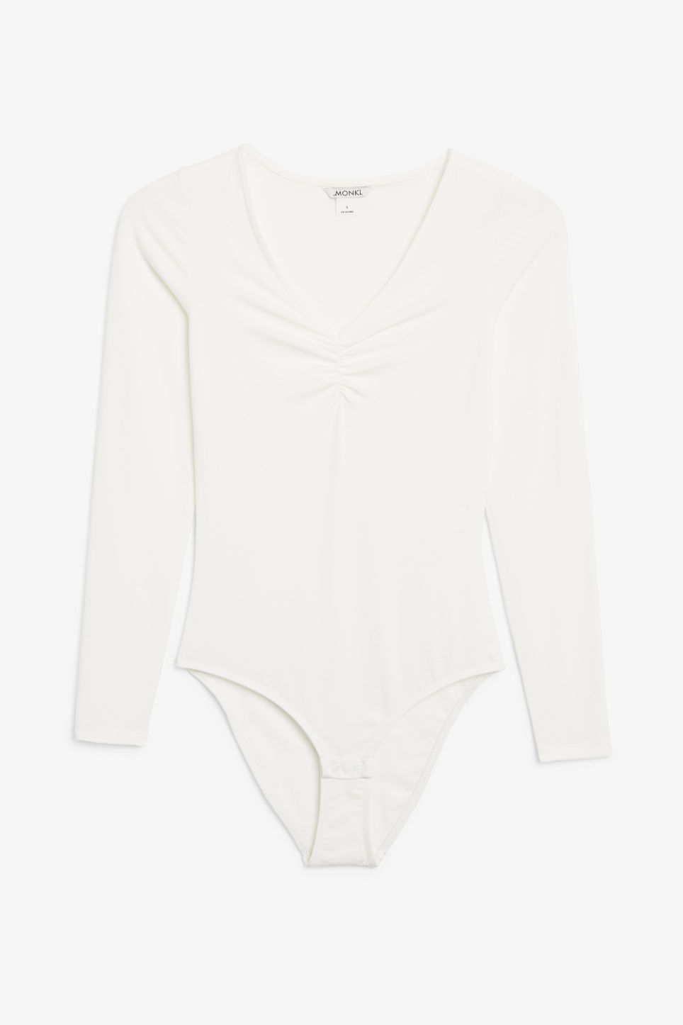 Front image of Monki ruched long-sleeve body in white