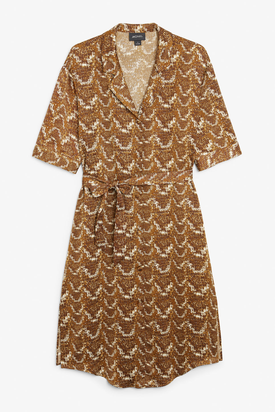 Front image of Monki button-up shirt dress in yellow
