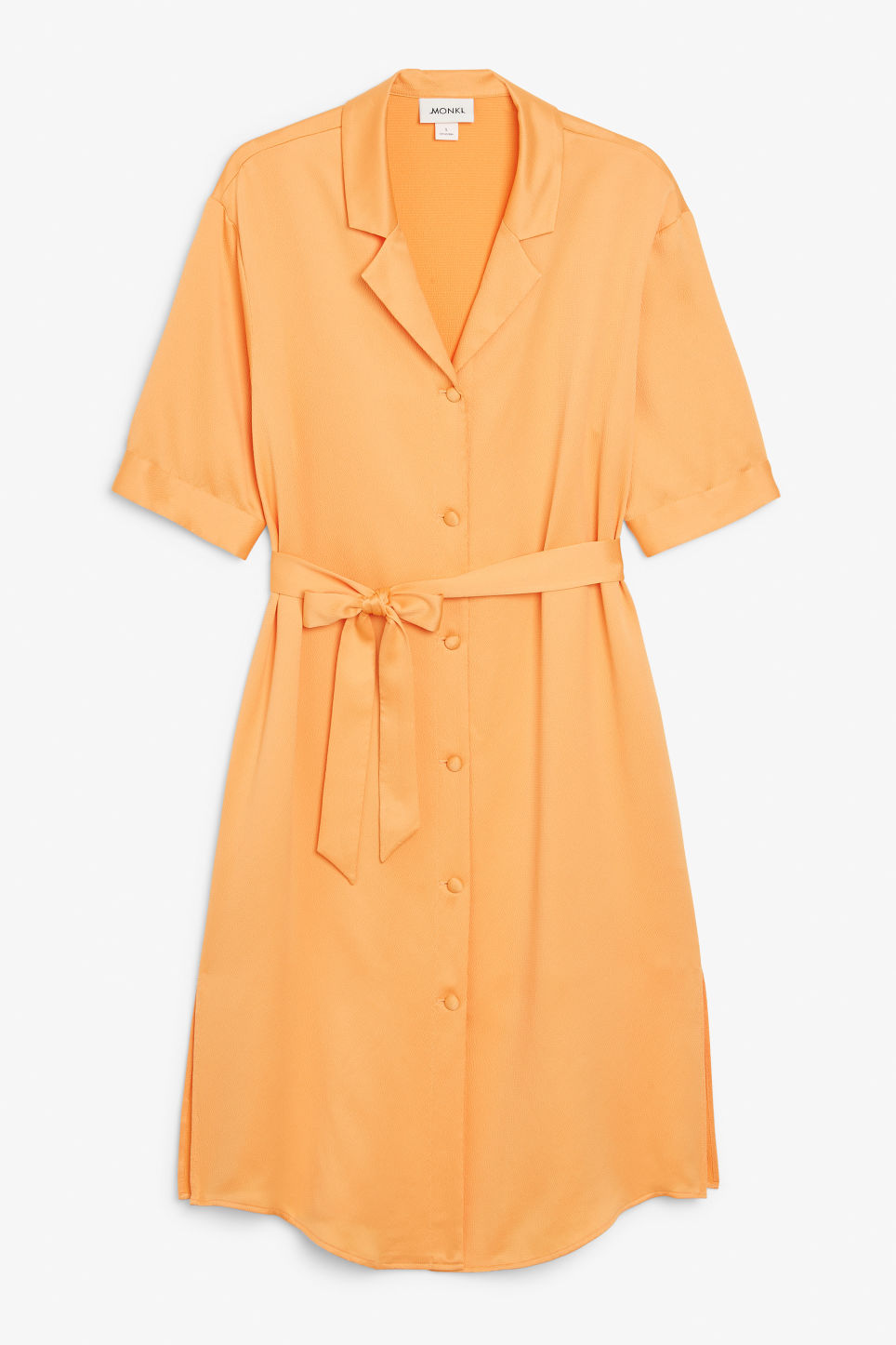 Front image of Monki button-up shirt dress in orange