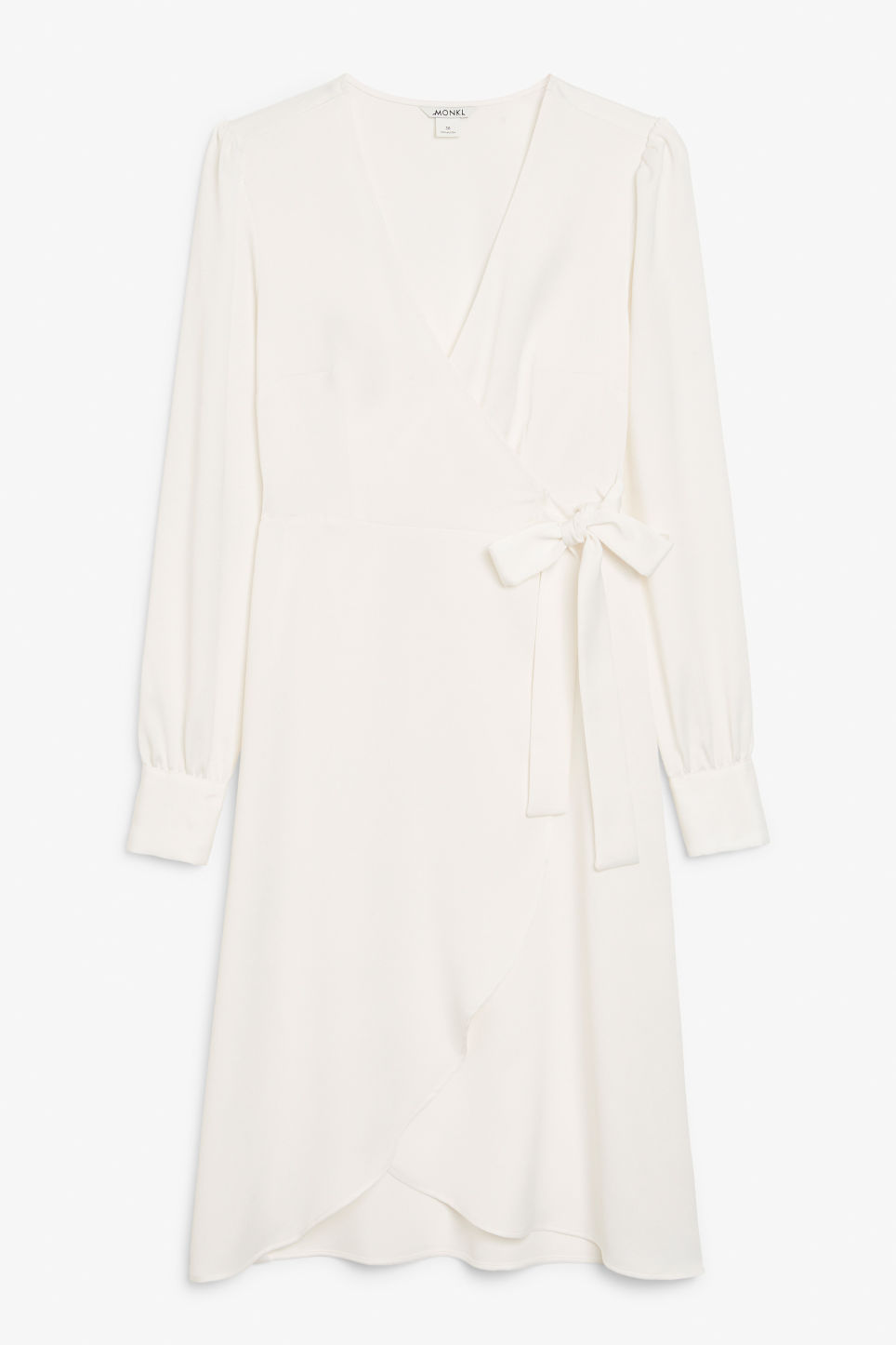 Front image of Monki silky v-neck wrap dress  in white