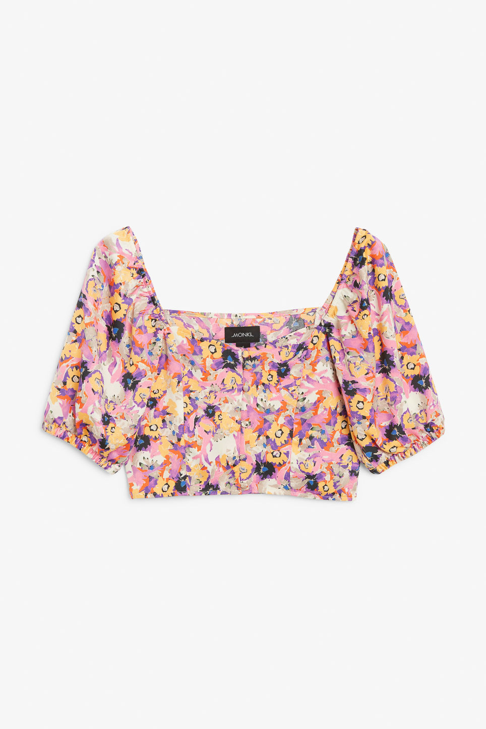 Front image of Monki puff sleeve crop top in pink