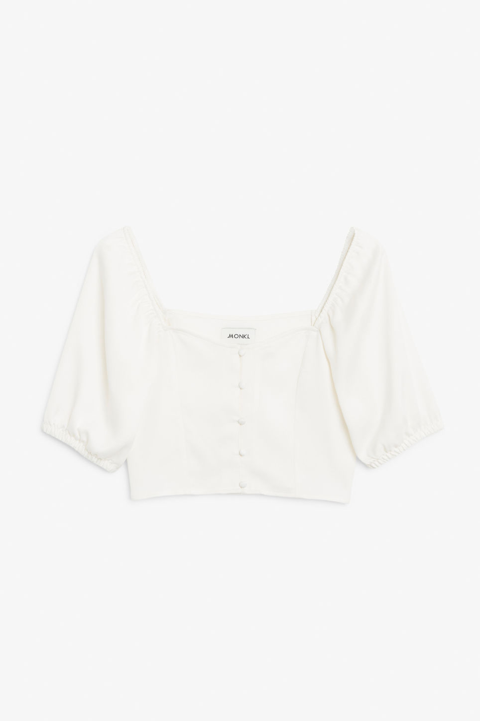 Front image of Monki puff sleeve crop top in white