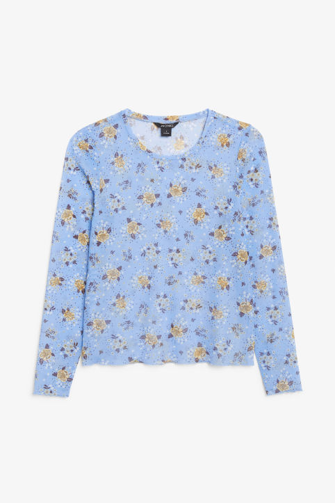 Front image of Monki long-sleeved mesh top in blue