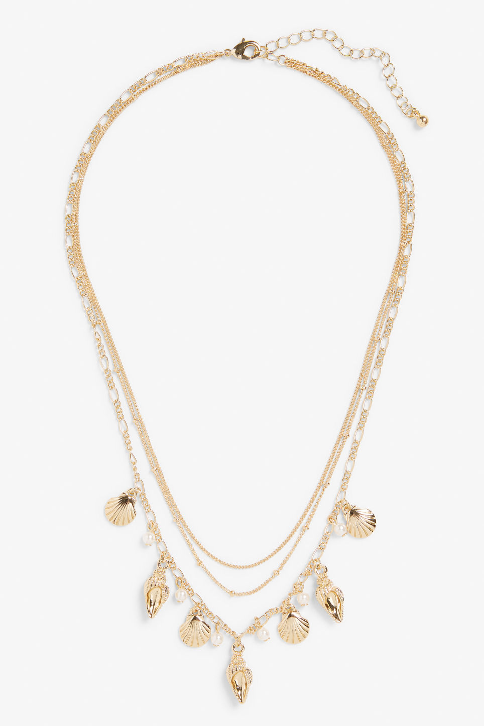Front image of Monki sea style layered necklace in gold