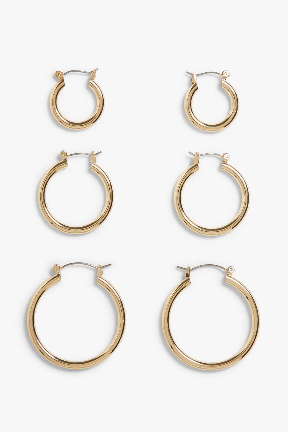 Front image of Monki gold hoops  in gold