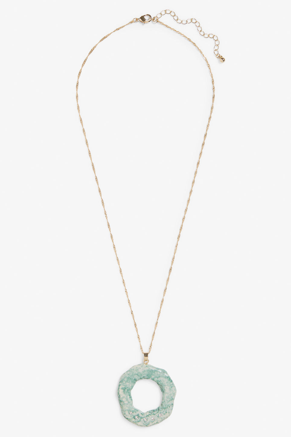 Front image of Monki long gold necklace in turquoise
