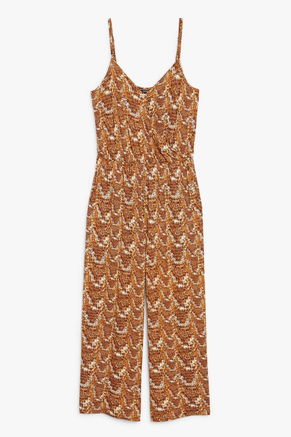 Front image of Monki wrap jumpsuit in beige