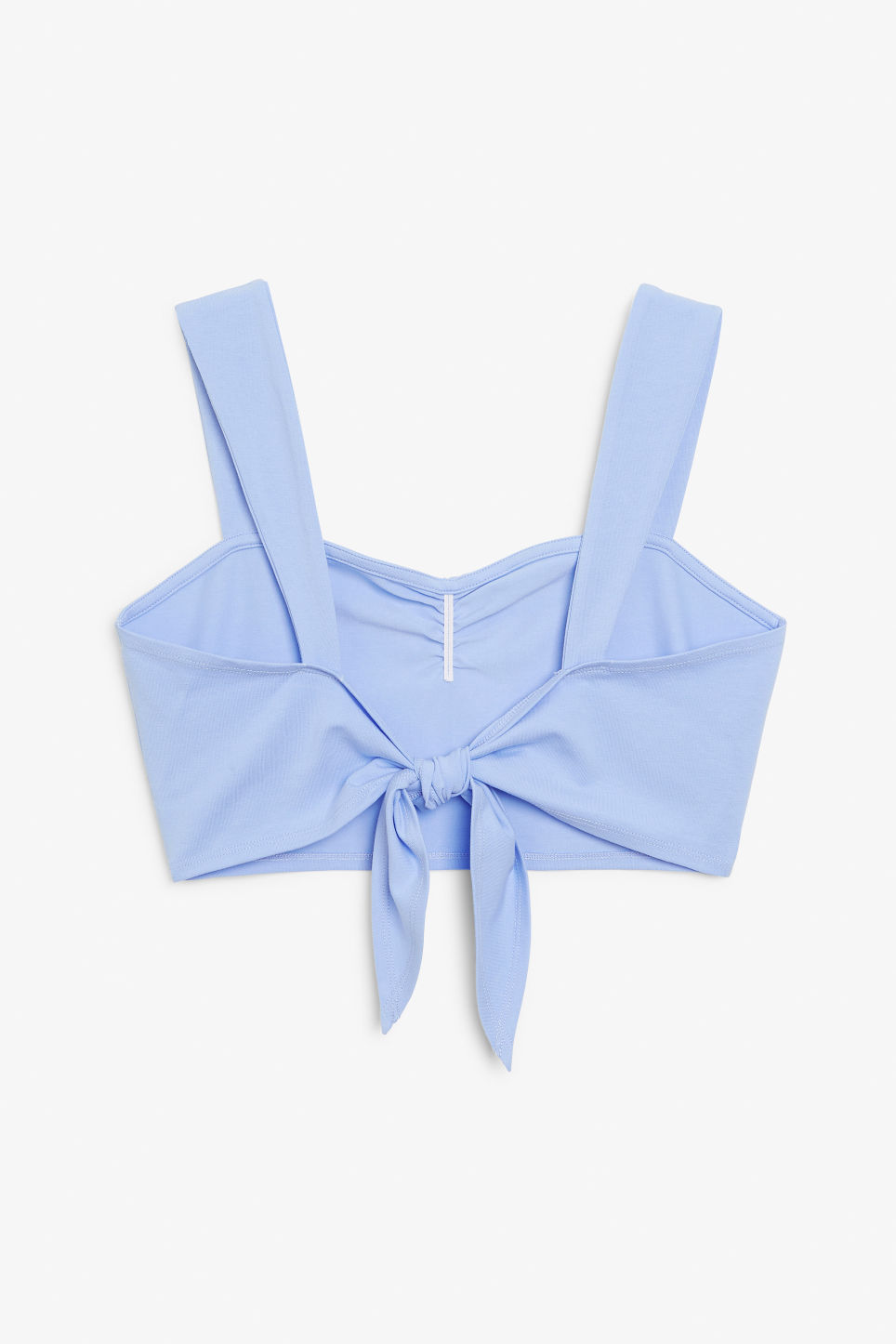 Back image of Monki tie-back crop top in blue