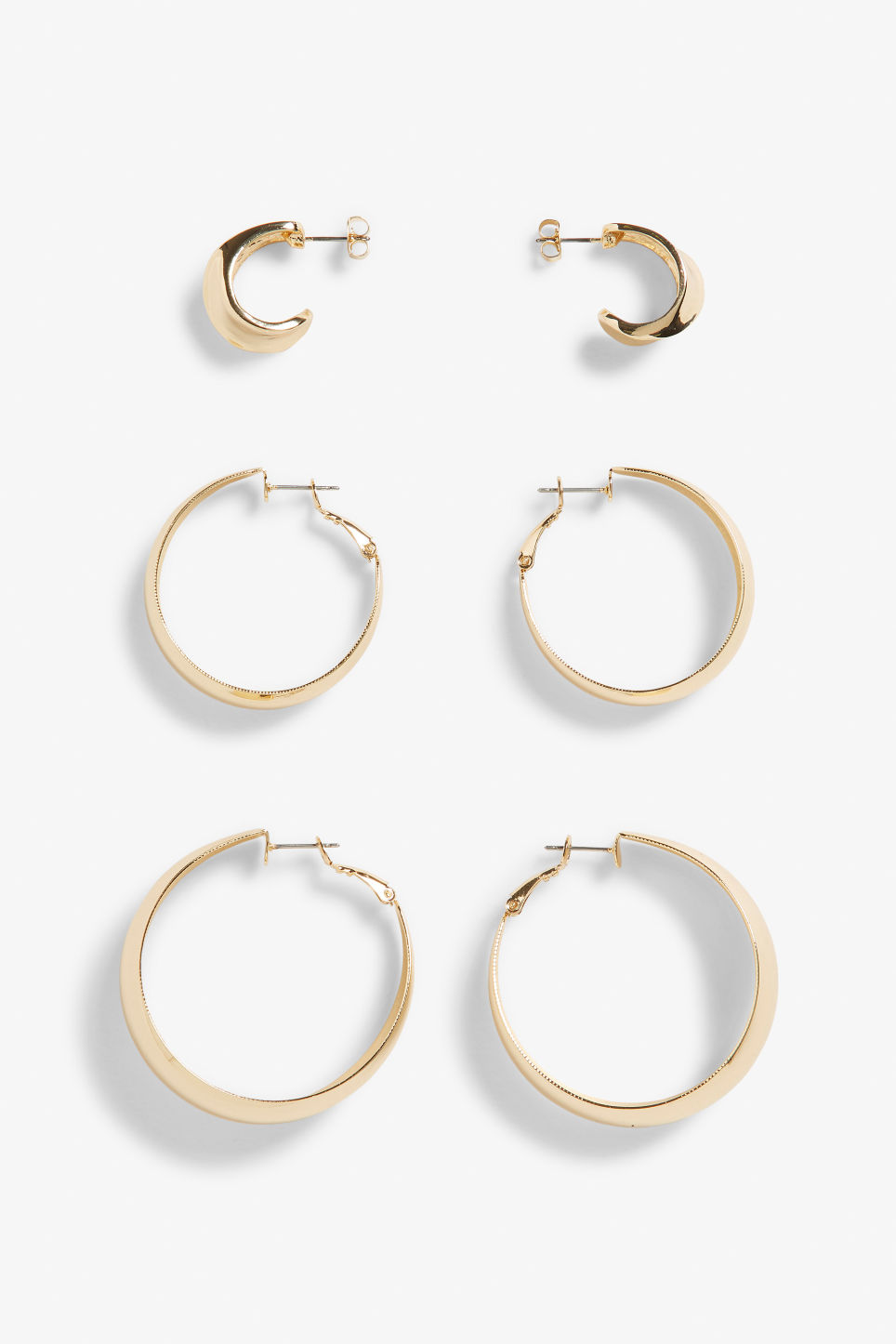 Front image of Monki gold hoop earrings  in gold