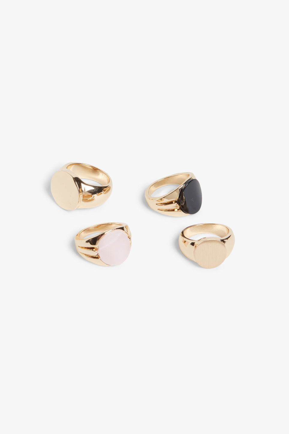 Front image of Monki gold varsity rings in gold