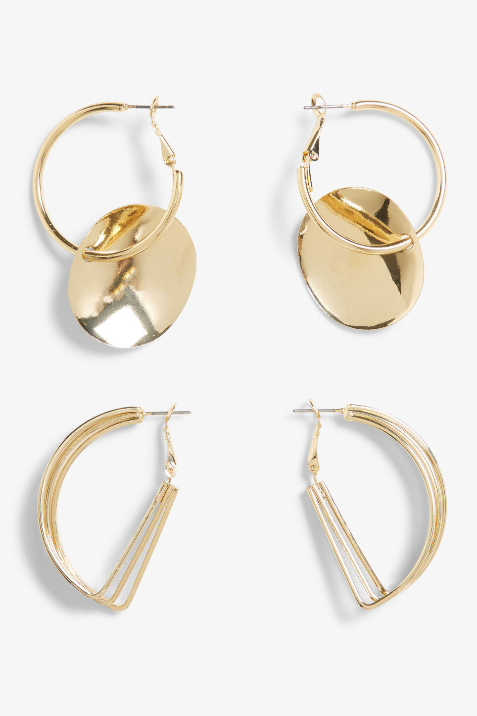 Front image of Monki geometric style earrings in gold