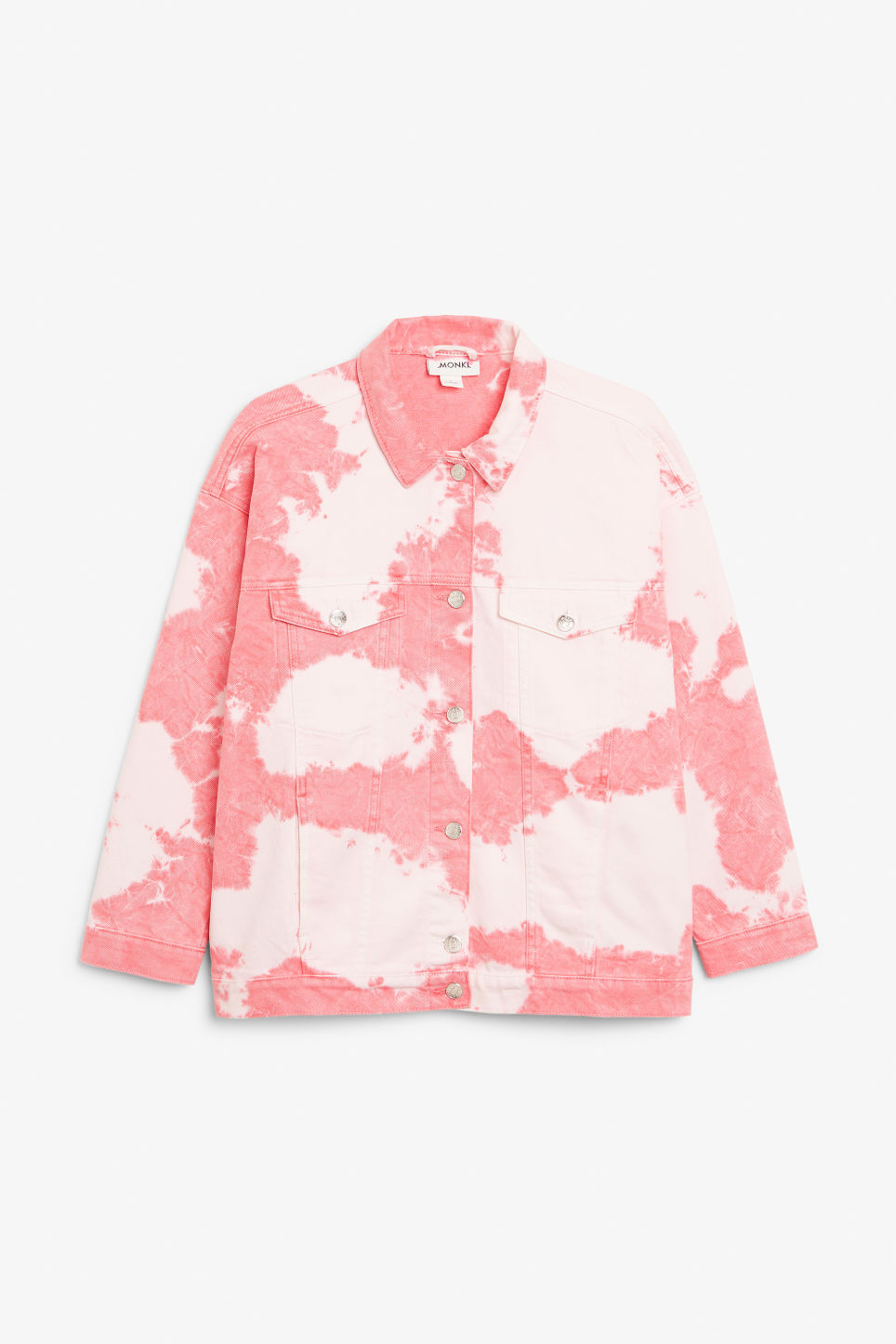 Front image of Monki tie-dye denim jacket in pink