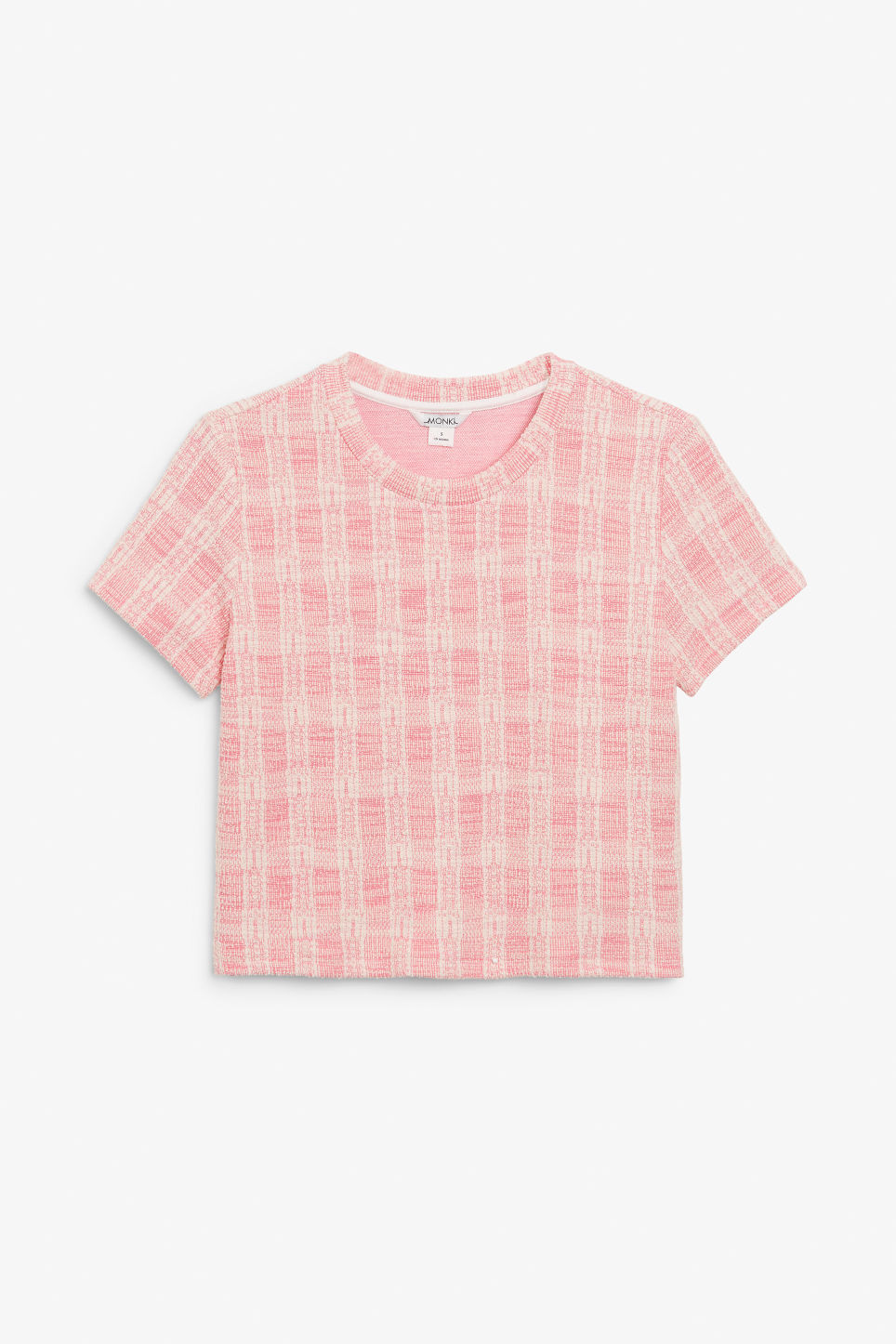 Front image of Monki boucle tee in pink