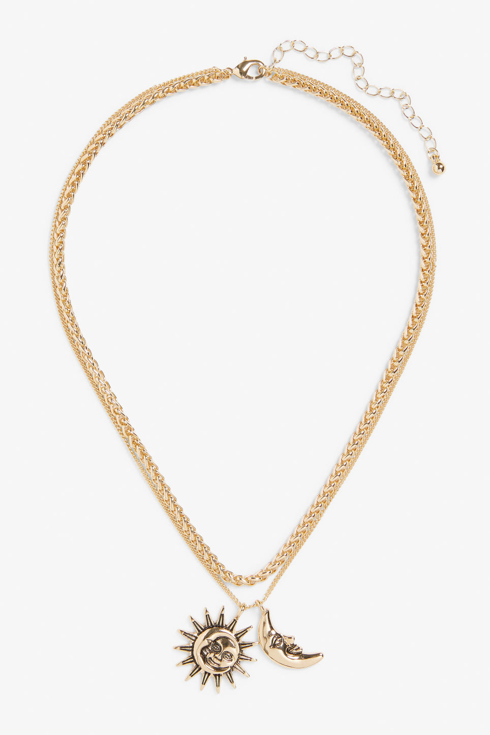 Front image of Monki gold layered necklace in gold
