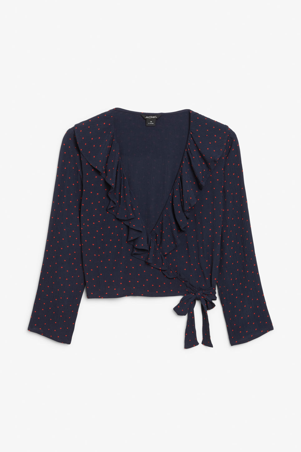 Front image of Monki wrap blouse in blue