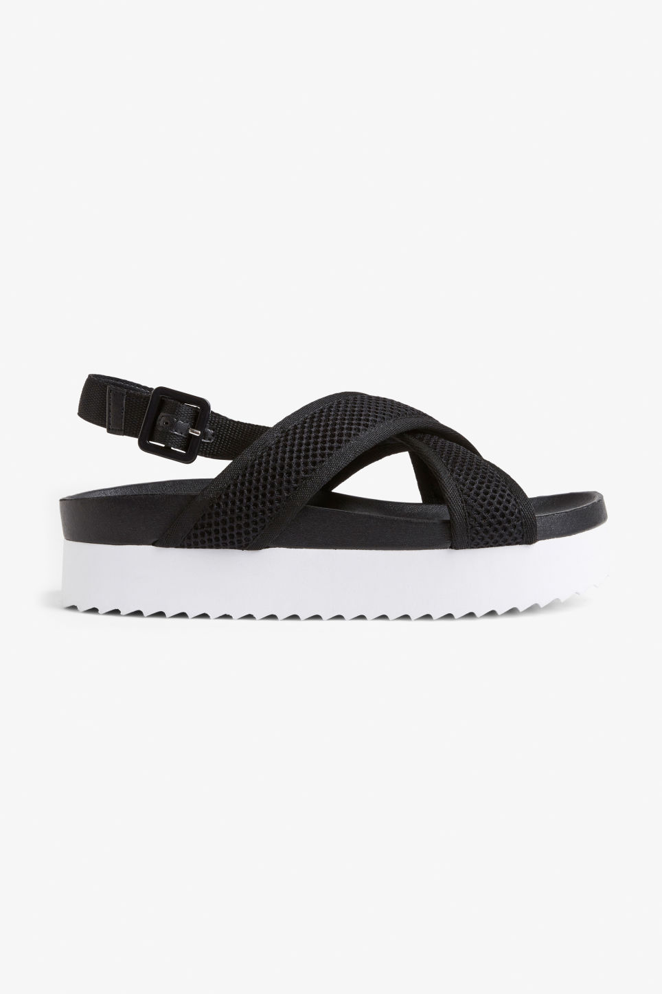 Detailed image of Monki sporty cross-strap sandals in black