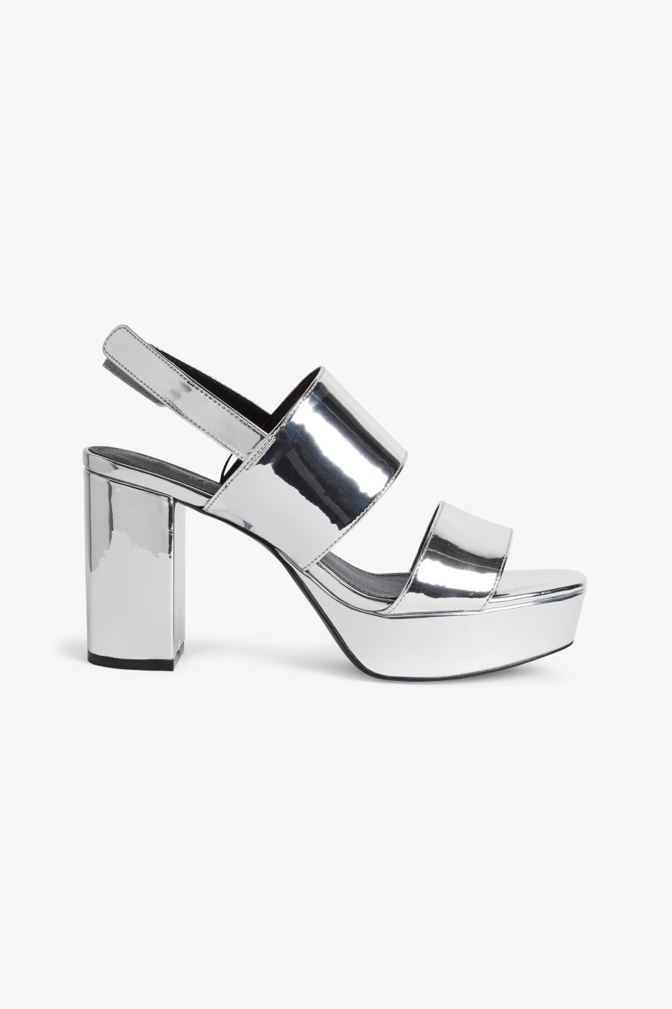 Detailed image of Monki platform heels in silver
