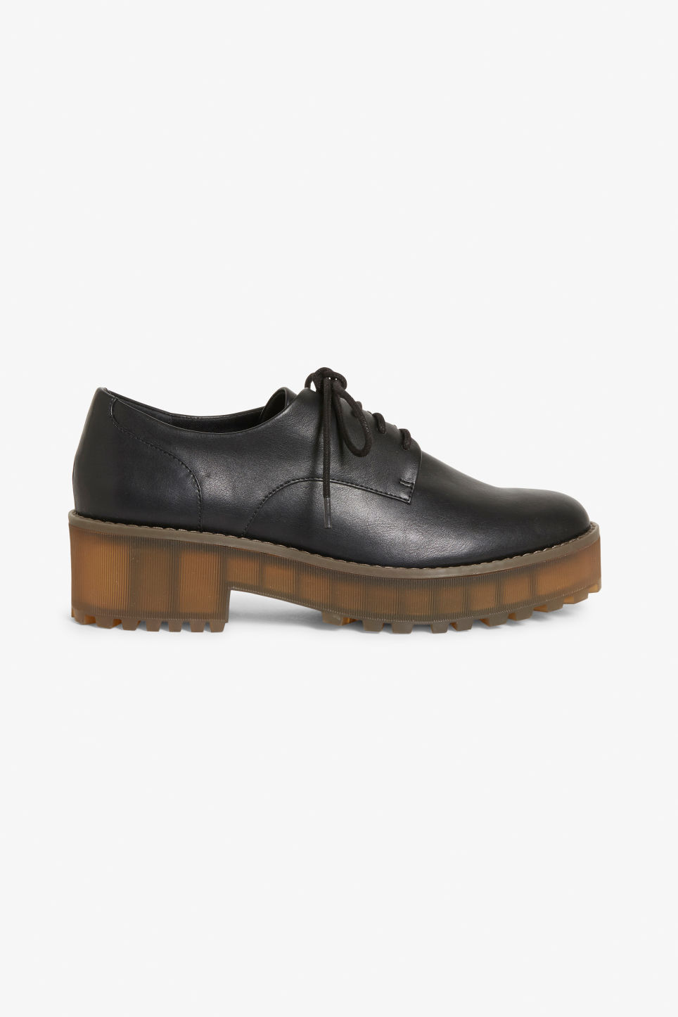 Detailed image of Monki flatform oxford shoes in black