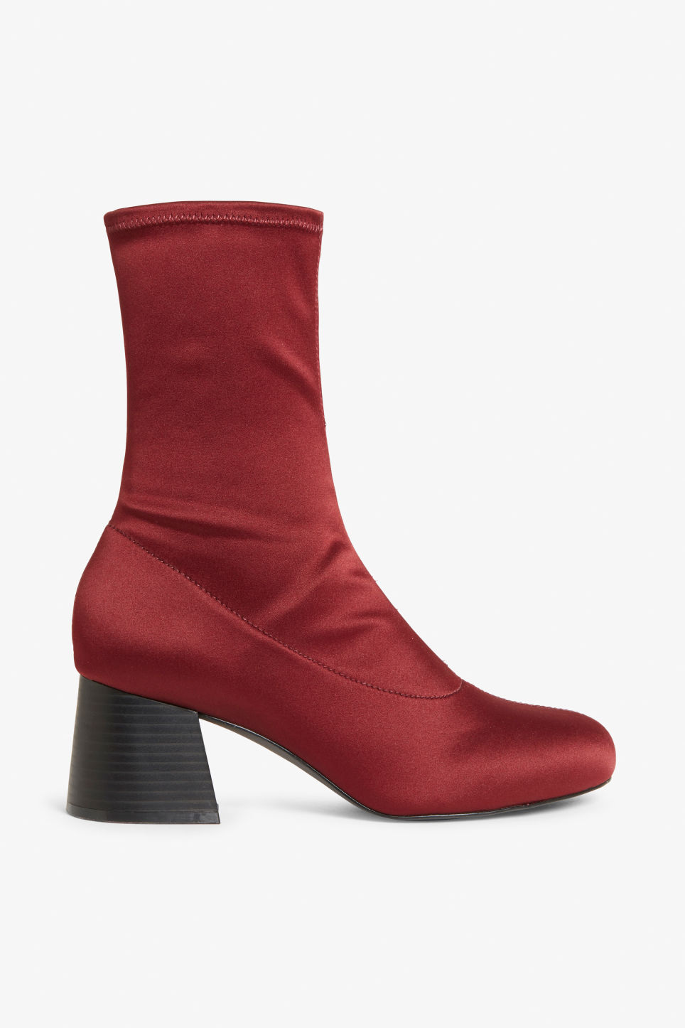 Detailed image of Monki stretch ankle boots in red