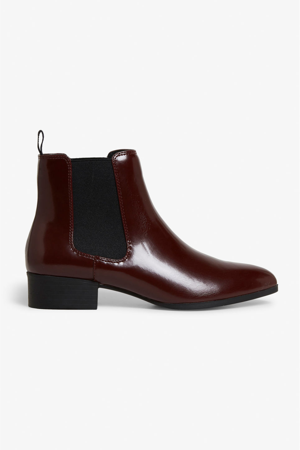 Detailed image of Monki chelsea ankle boots in red