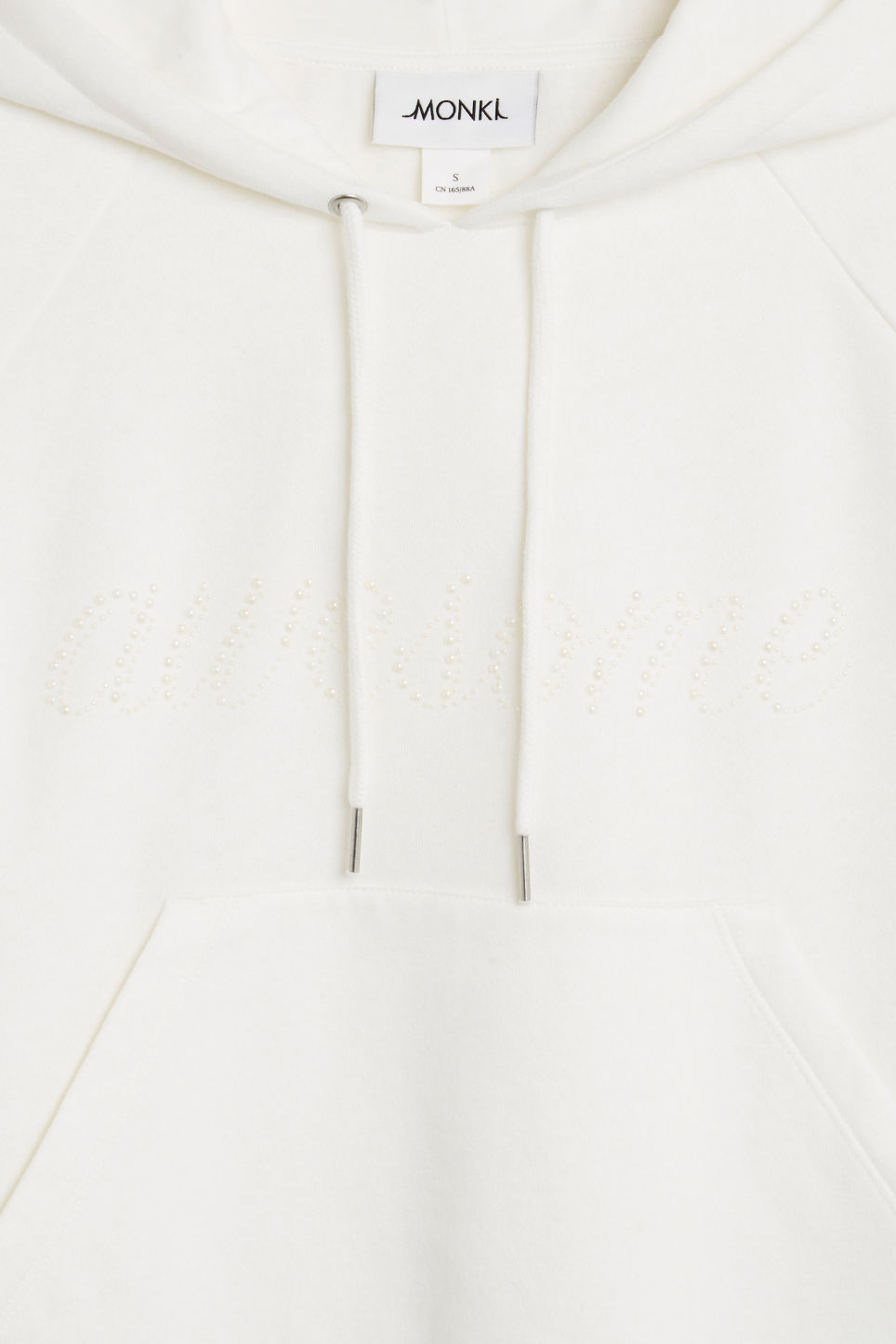 Detailed image of Monki cropped hoodie in white
