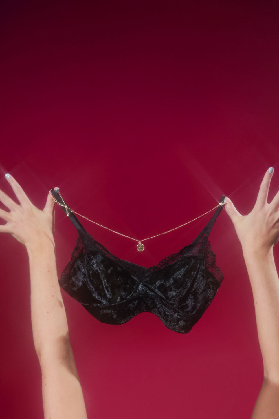 Detailed image of Monki velvet bralette in black
