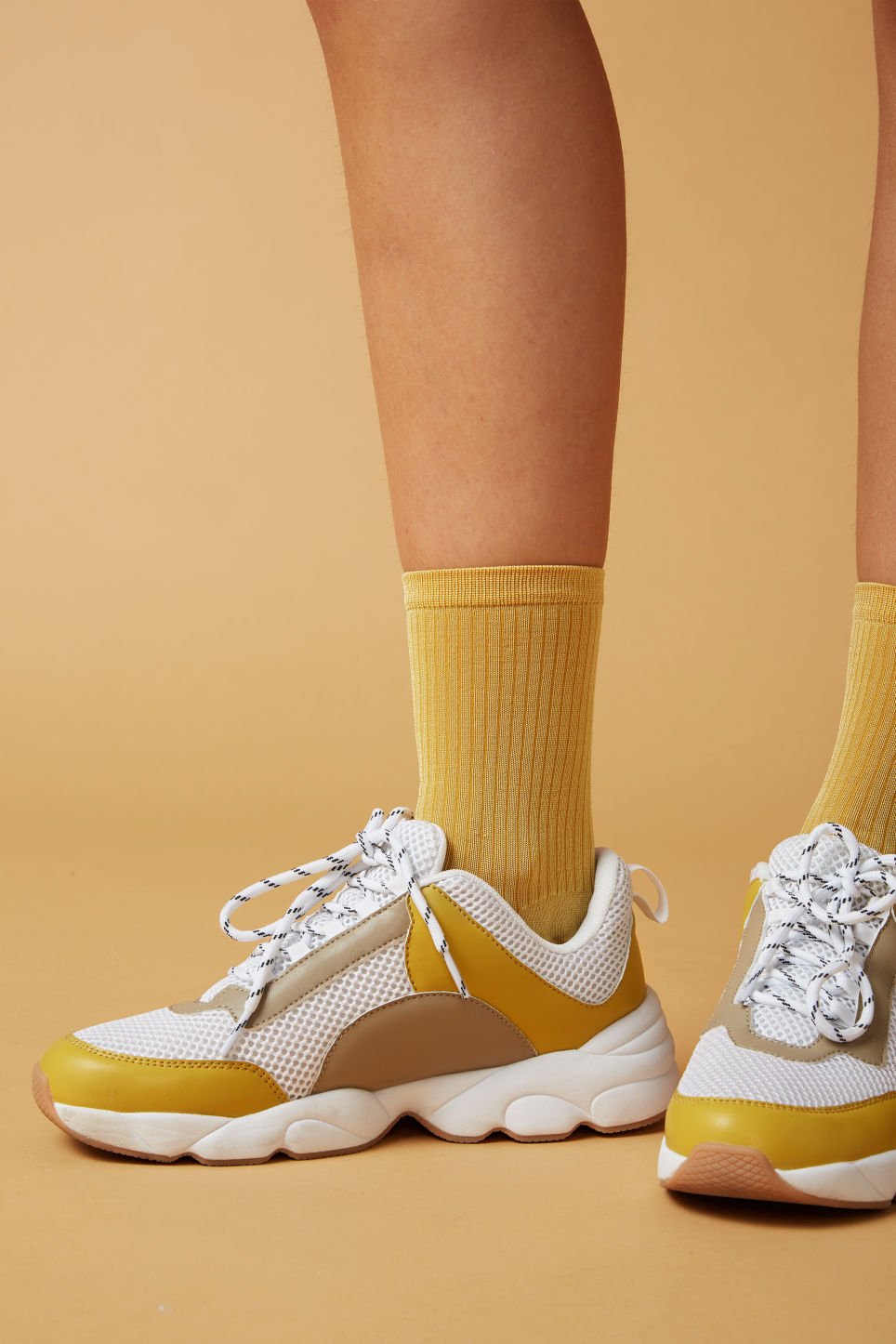 Detailed image of Monki sleek ribbed socks in orange