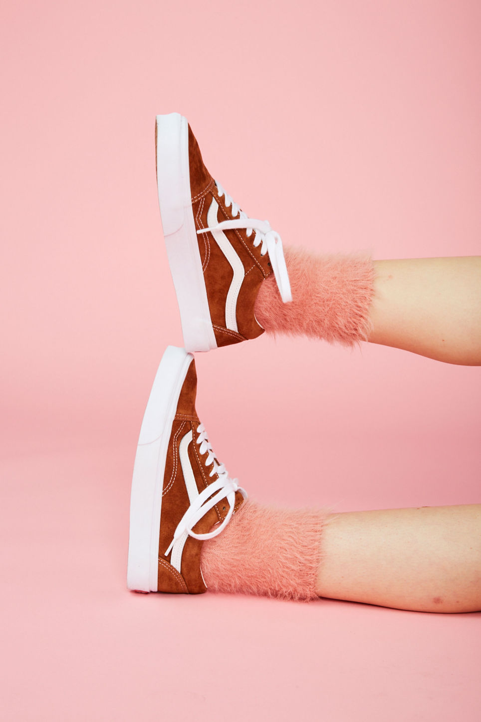 Detailed image of Monki fluffy socks in pink
