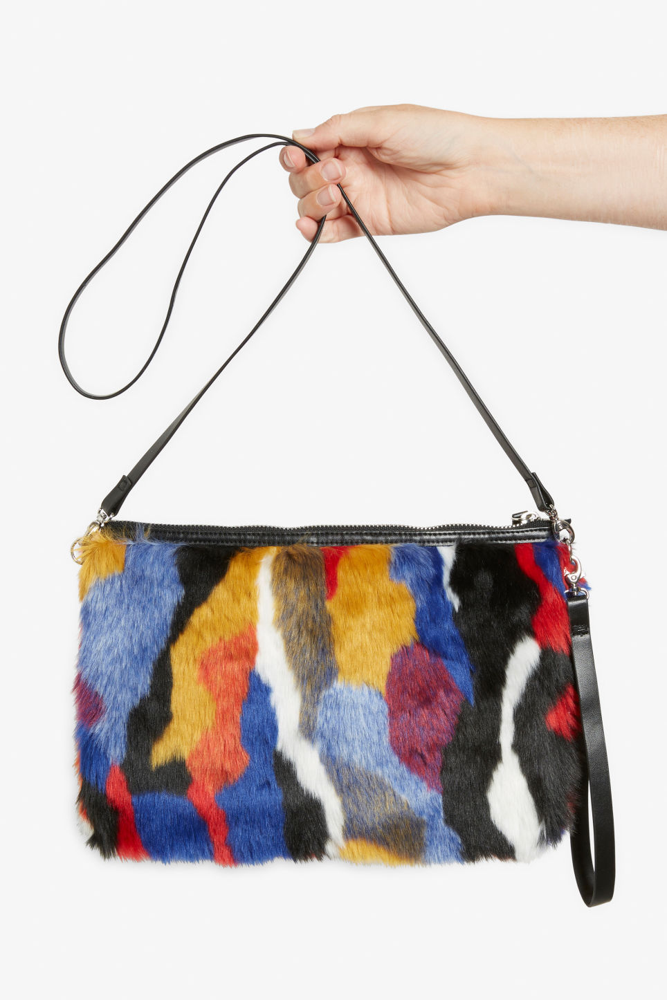 Detailed image of Monki faux fur bag in blue