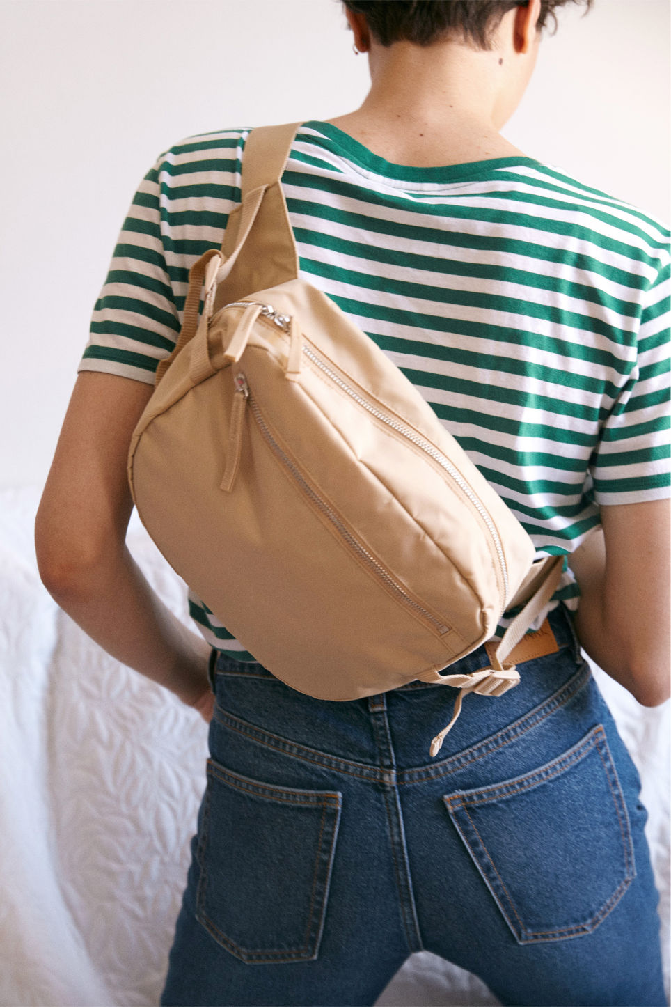 Detailed image of Monki fanny pack in beige