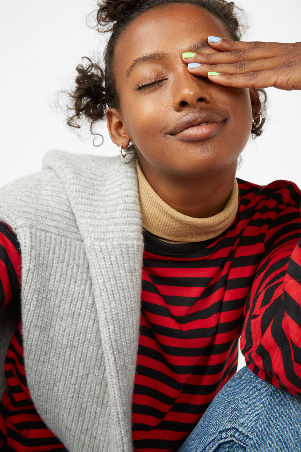 Detailed image of Monki soft long-sleeved top in red