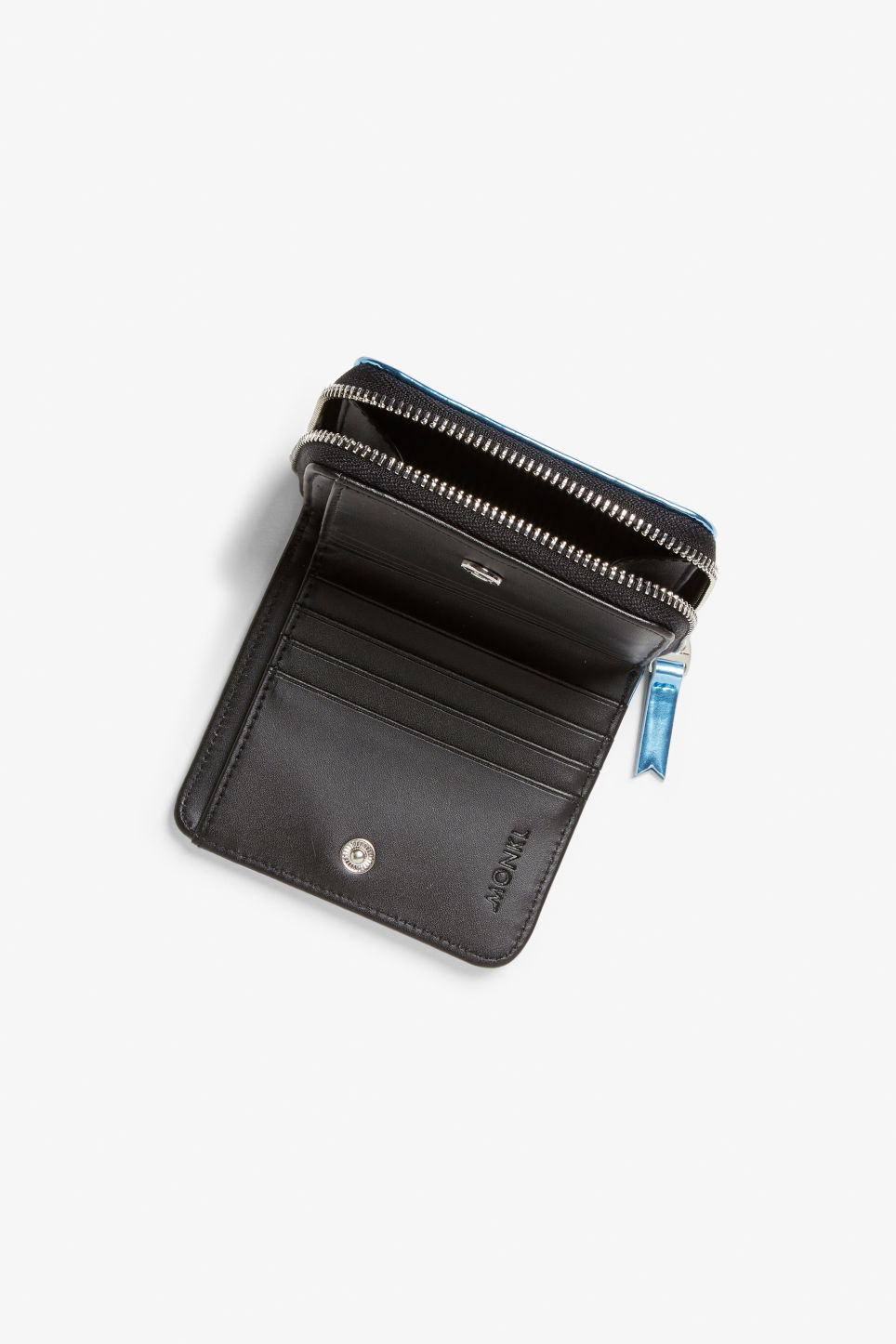 Detailed image of Monki coin purse wallet in blue