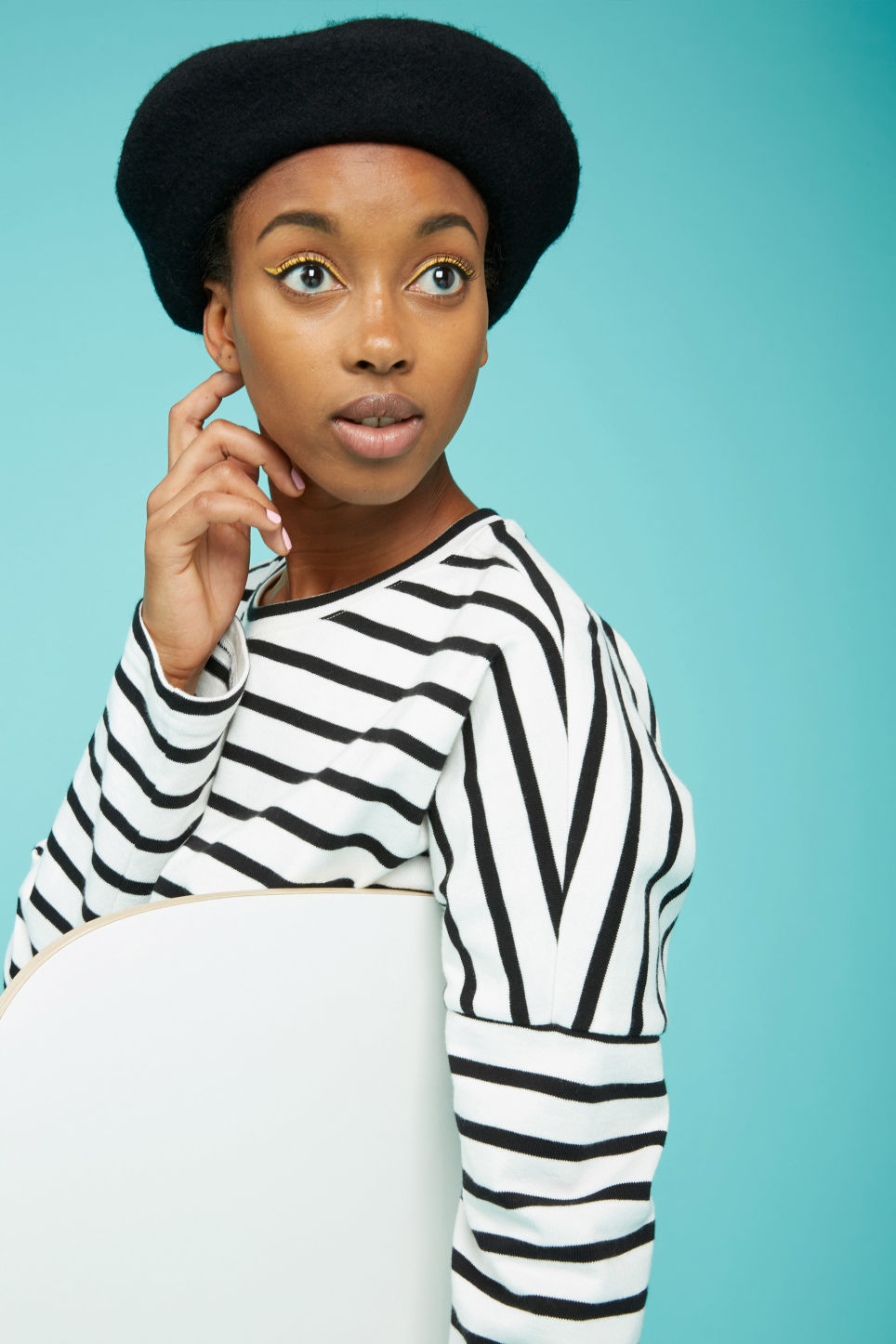 Detailed image of Monki classic beret in black