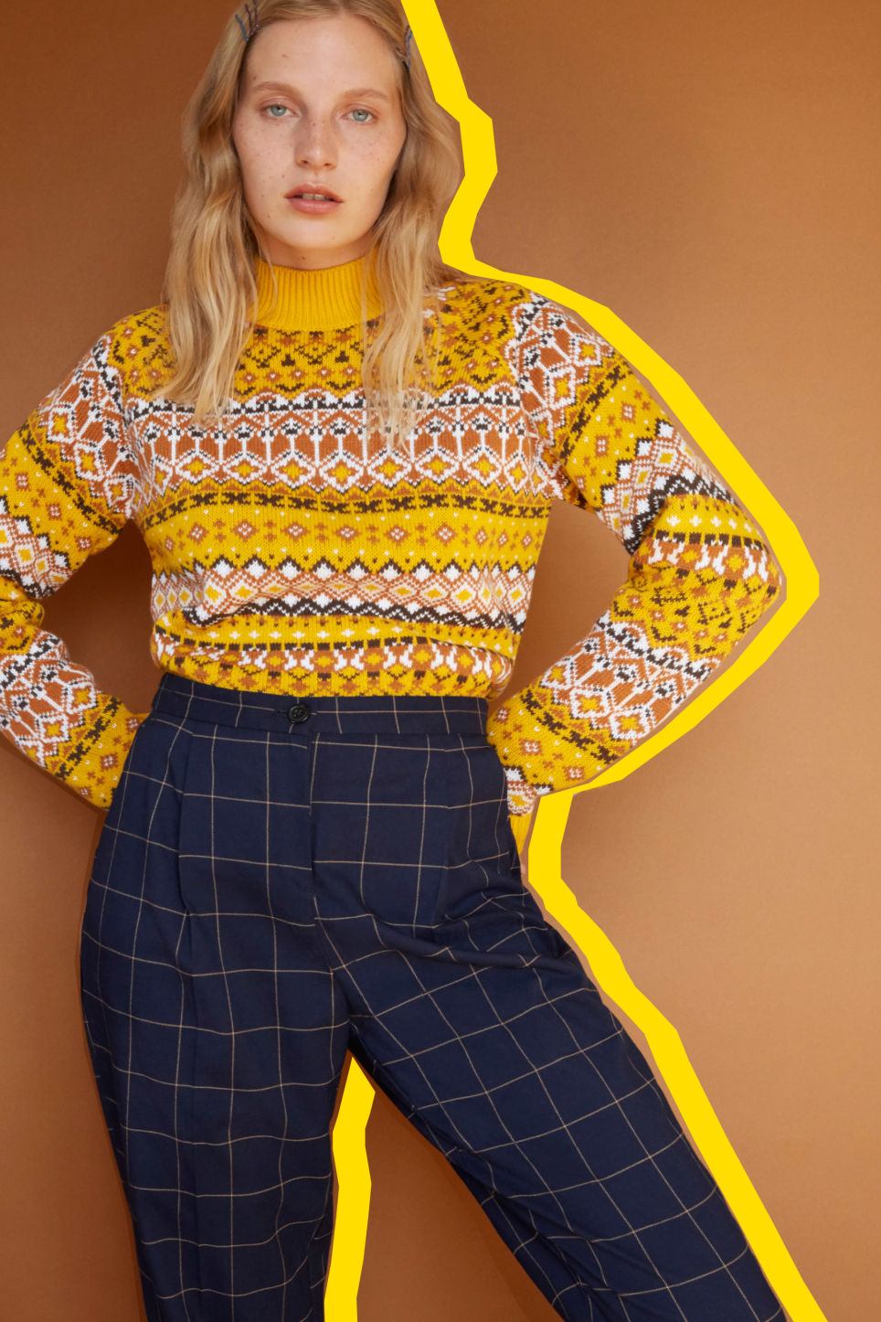 Detailed image of Monki dressy tapered trousers in blue