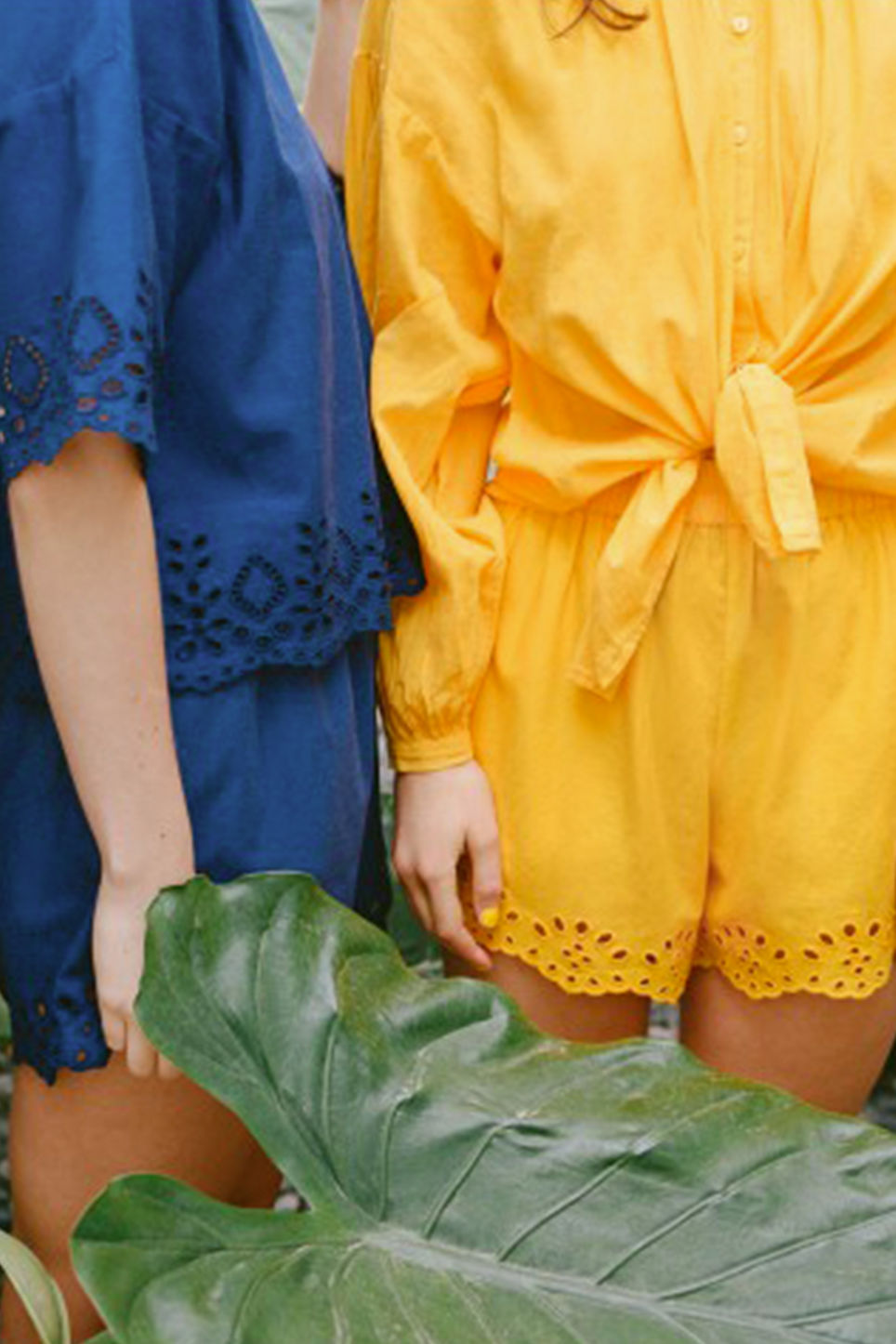 Detailed image of Monki flowy shorts in yellow