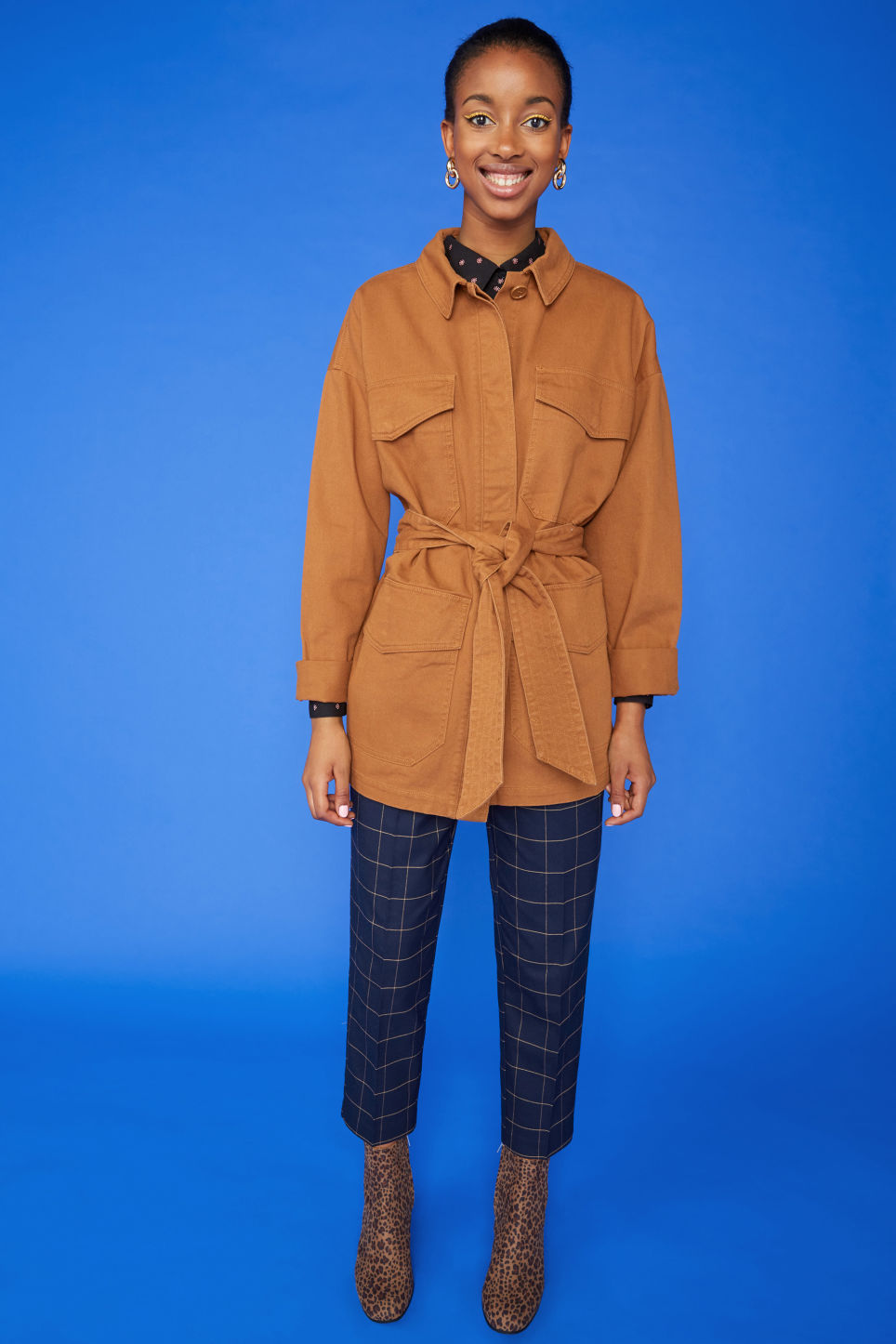 Detailed image of Monki utility jacket in orange