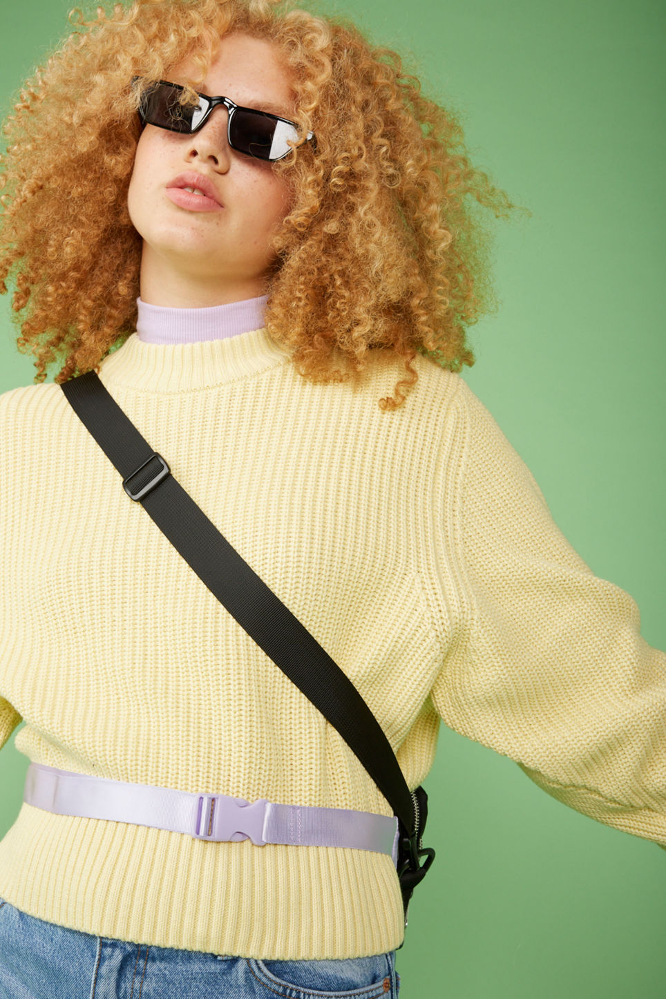 Detailed image of Monki puffed sleeve sweater in yellow