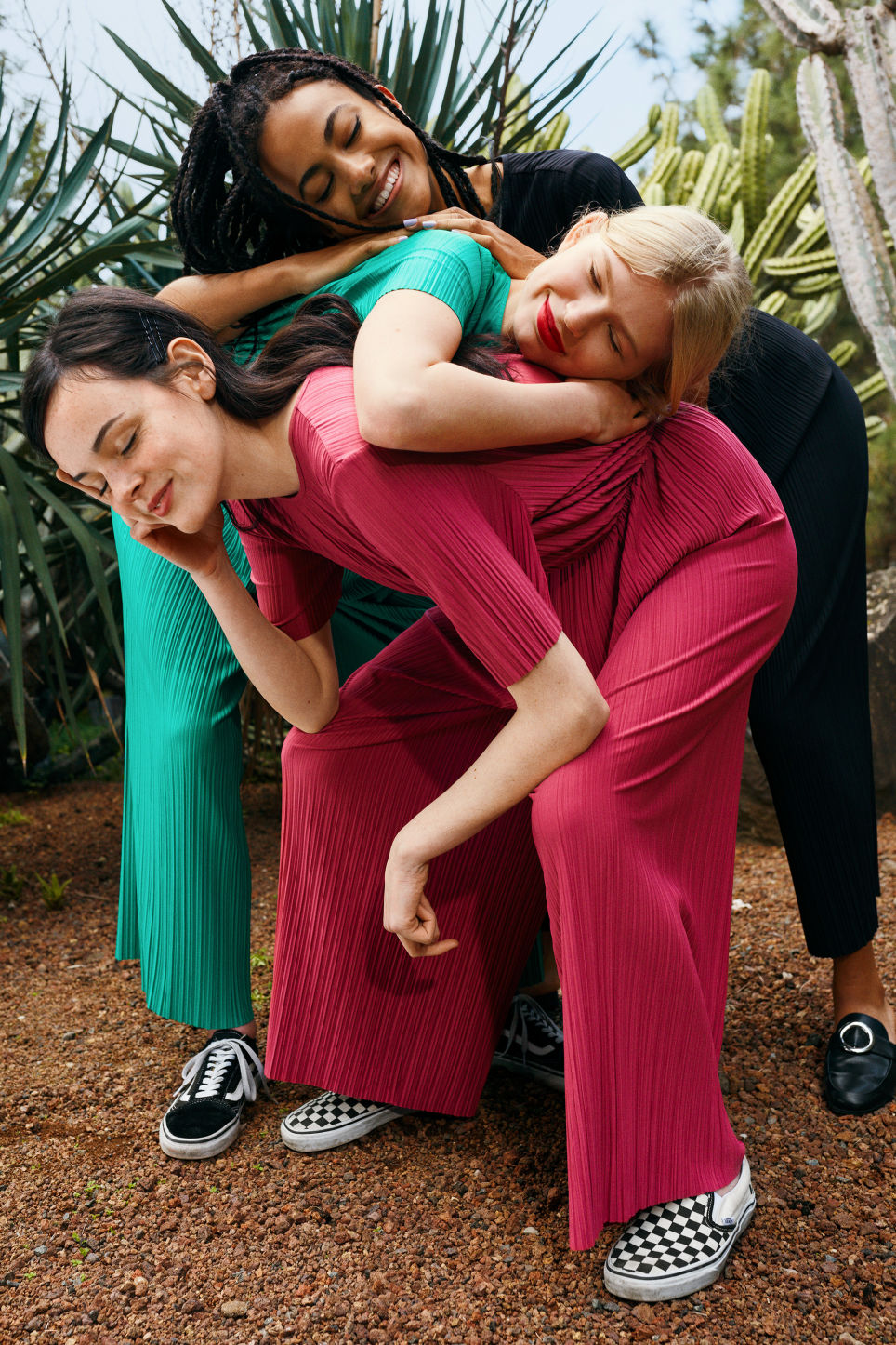 Detailed image of Monki pleated jumpsuit in pink