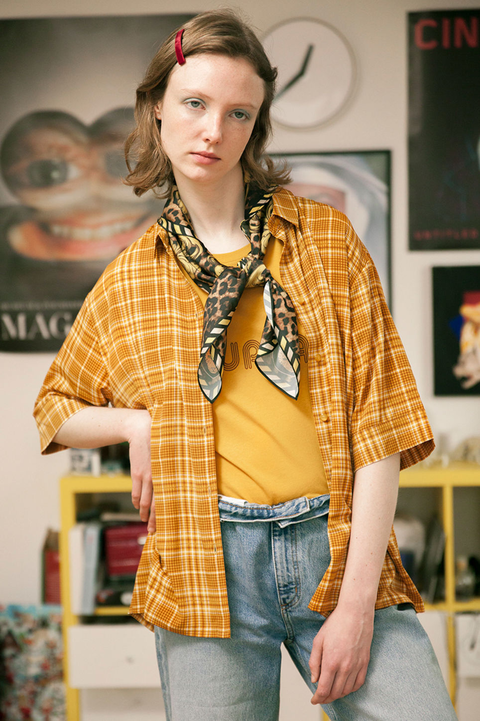 Detailed image of Monki oversized button-up blouse in yellow