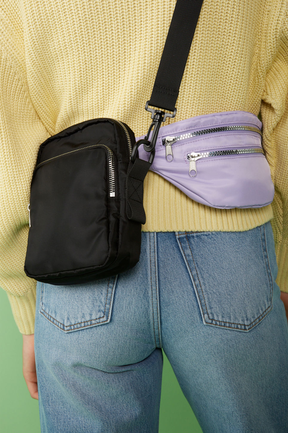 Detailed image of Monki fanny pack in purple