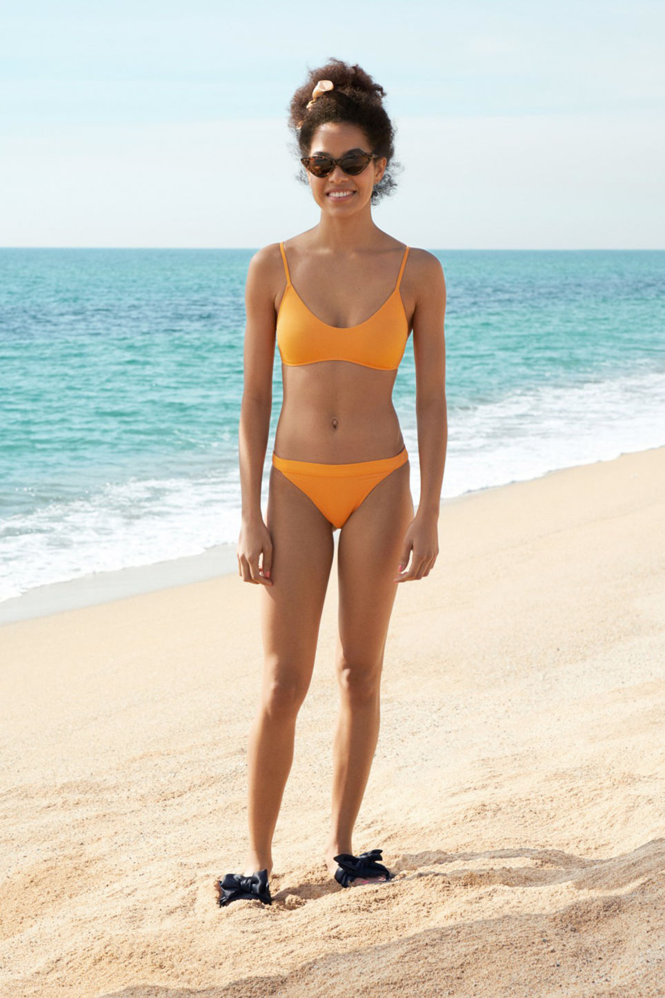 Detailed image of Monki sporty bikini briefs in orange
