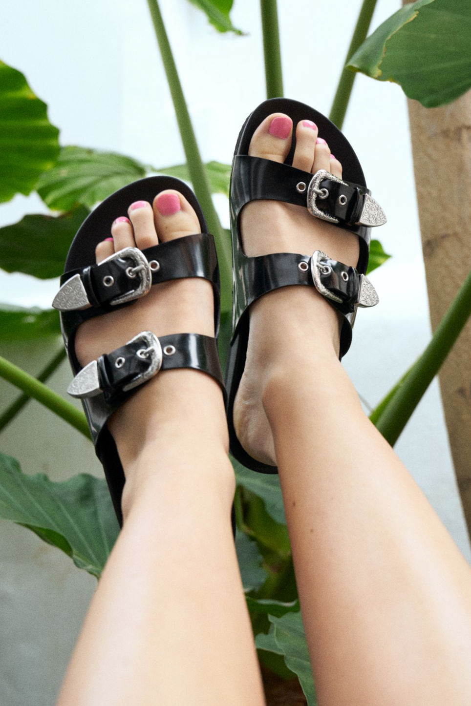 Detailed image of Monki buckle detail sandals in black