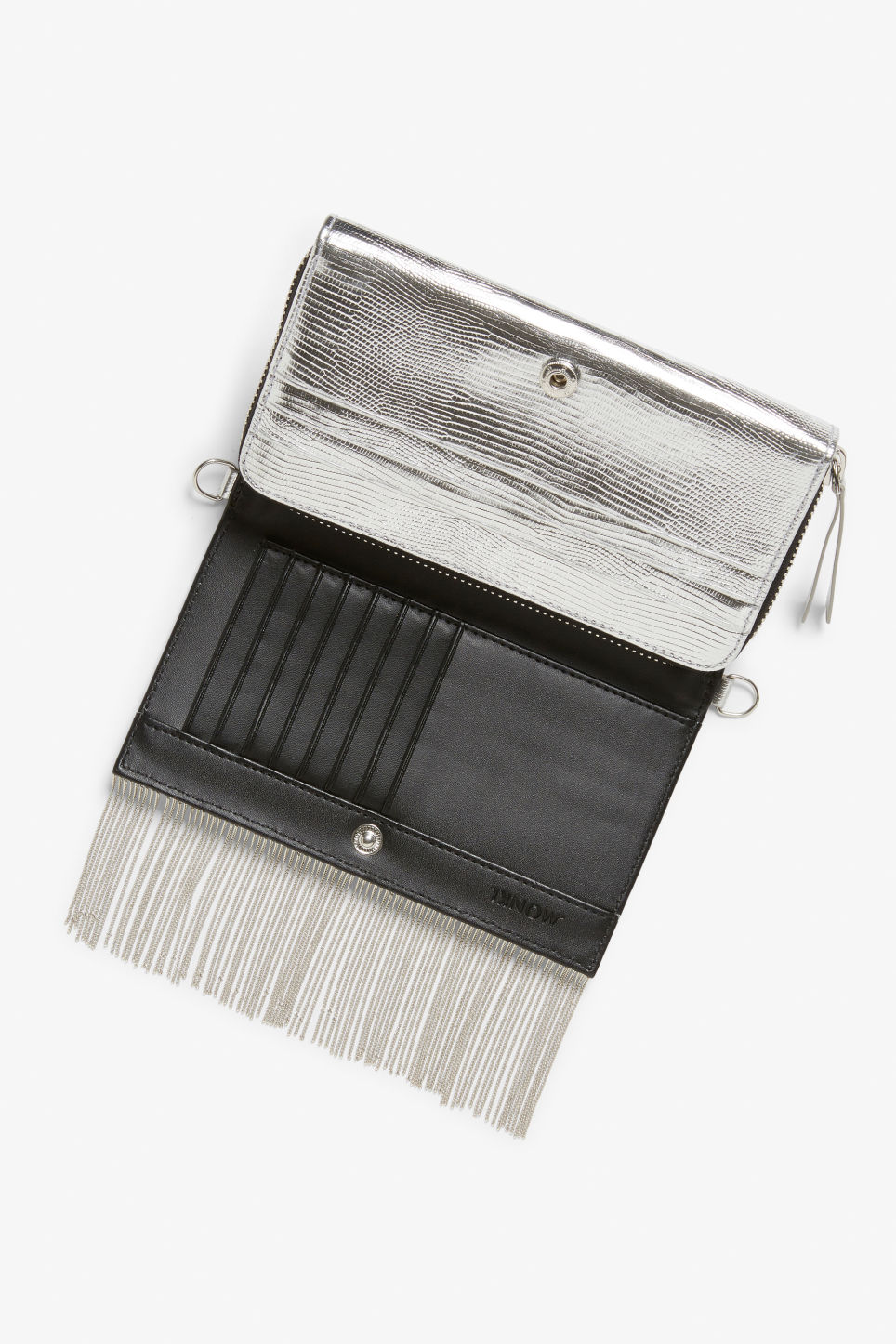 Detailed image of Monki shoulder wallet in silver